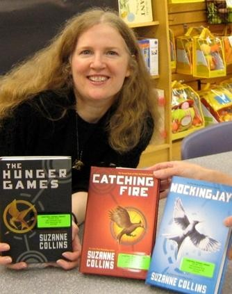 Suzanne Collins with her Books