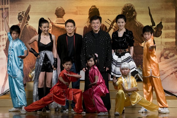 Jet Li and Jackie Chan with The Forbidden Kingdom Cast during Promotion in HongKong