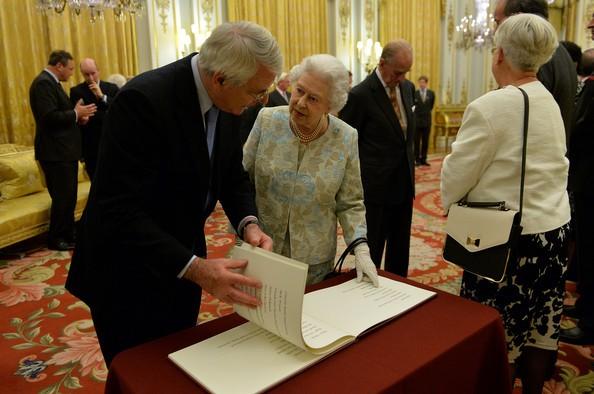 John Major with The Queen Elizabeth II at Diamond Jubilee Trust in London