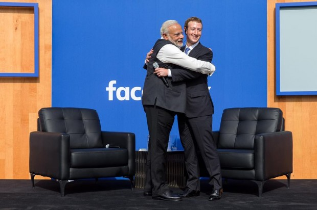 Mark Zukerberg with Indian Prime Minister Narendra Modi at Town Hall