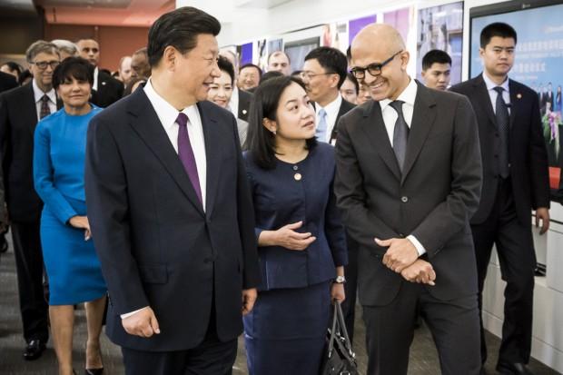Satya Nadella with Chinese President Hu Jintao