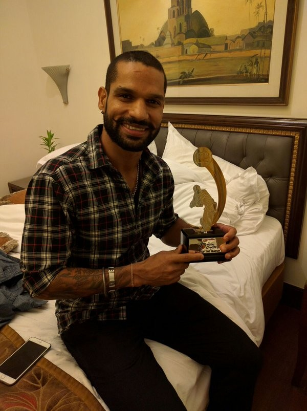 Shikhar Dhawan Dedicating Trophy  to his mother and his wife After Asia World Cup Match