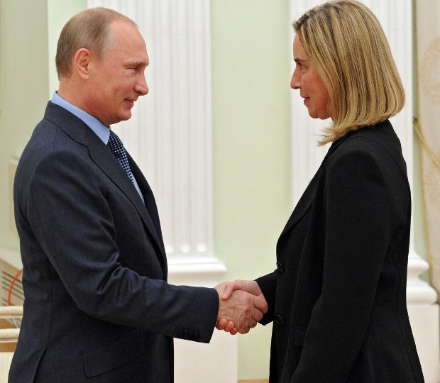 Vladimir Putin with Federica Mogherini