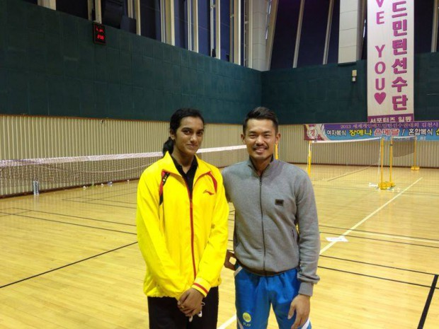 PV Sindhu with Chinese Badminton star Lin Dan