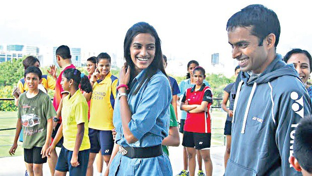 PV Sindhu and Gopichand at Gopichand Academy in Hyderabad