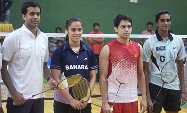 PV Sindhu with Kashyap, Saina and coach Gopichand