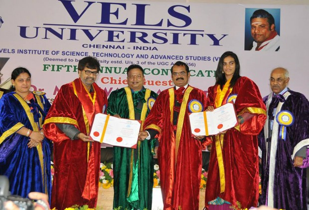 PV Sindhu receives Honorary Doctorate from VELS university of Chennai