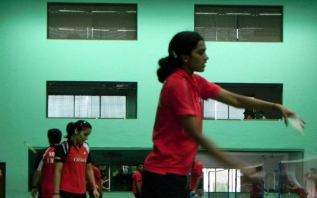 PV Sindhu and Saina Nehwal practicing at Gopichand Badminton Academy
