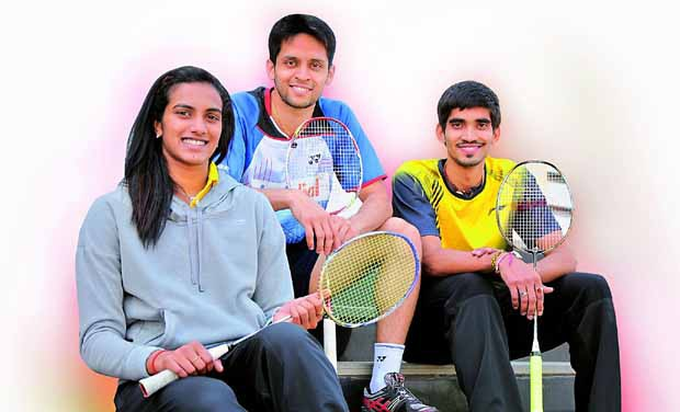 P.V. Sindhu with Parupalli Kashyap and Srikanth Kidambi