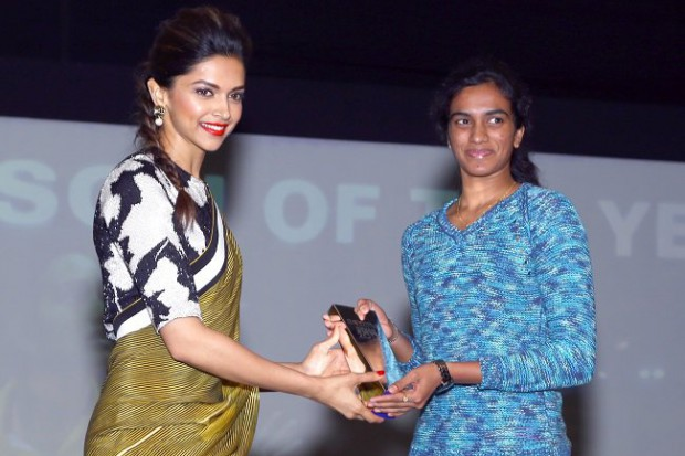 Actress Deepika Padukone presents NDTV Sports person of the year award to PV Sindhu