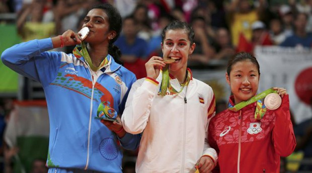 PV Sindhu with Gold and Bronze medal winners
