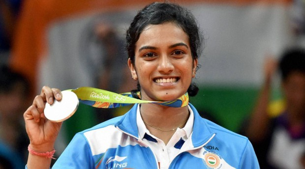 PV Sundhu with her silver medal in Rio Olympics 2016