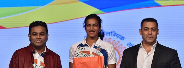 PV Sindhu with AR Rahman and Salman Khan