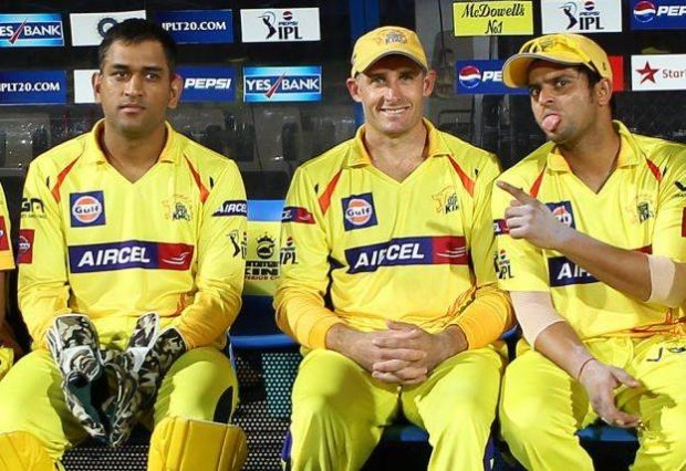 Raina Posing to the Camera with Mr.Cricket and Mr.Cool in CSK's Dugout