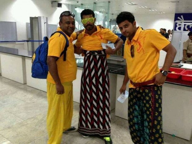 Raina and Jadeja in Lungis