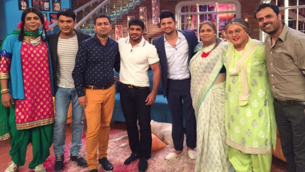 Wrestler Sushil Kumar and Suresh Raina with CNWK Show Crew
