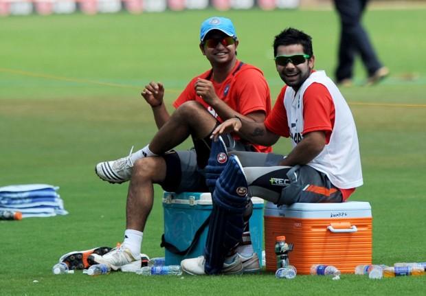 Raina and Kohli in Practice Session