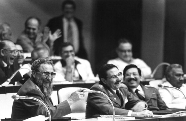 Raul Castro and Fidel Castro at the Third Congress of the Communist Party of Cuba in 1986