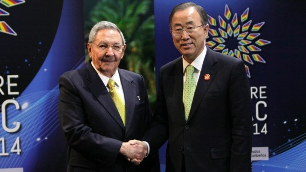 Raul Castro With  U.N. Secretary-General Ban Ki-moon