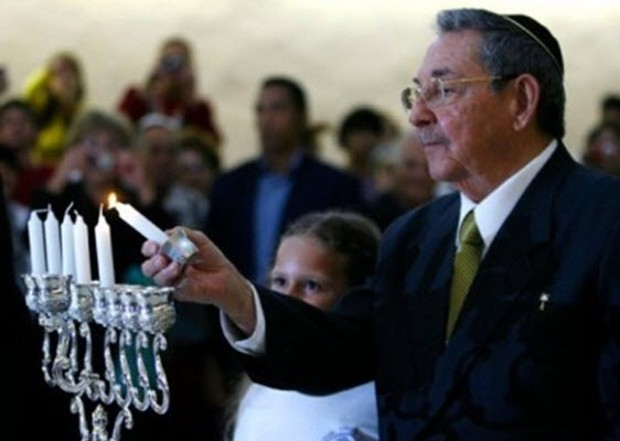 Cuban President Raul Castro during a Hanukkah festivity at the Jewish community in Havana