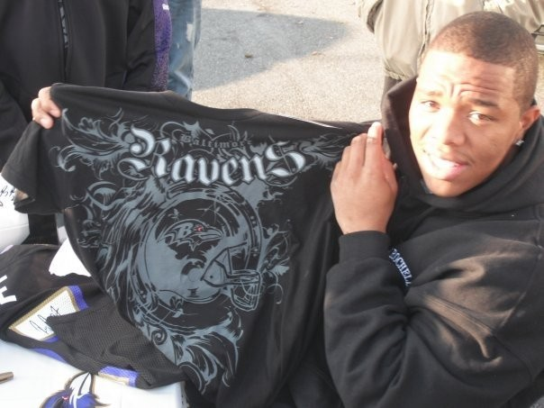 Ray Posing with Ravens t-shirt