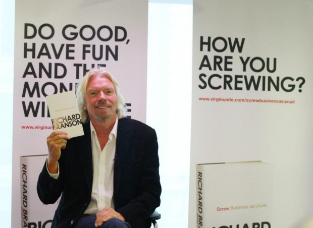 Richard with his book Screw Business as Usal