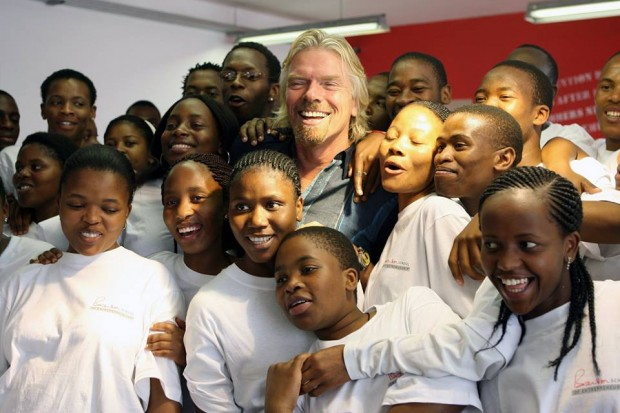 Richard Branson with kids