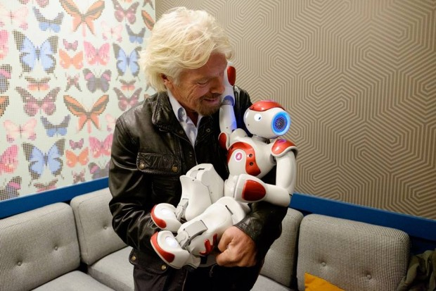 Richard Barson with a little robot