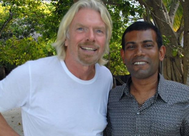 Richard Branson with Mandel of Maldieves Mohamed Nasheed
