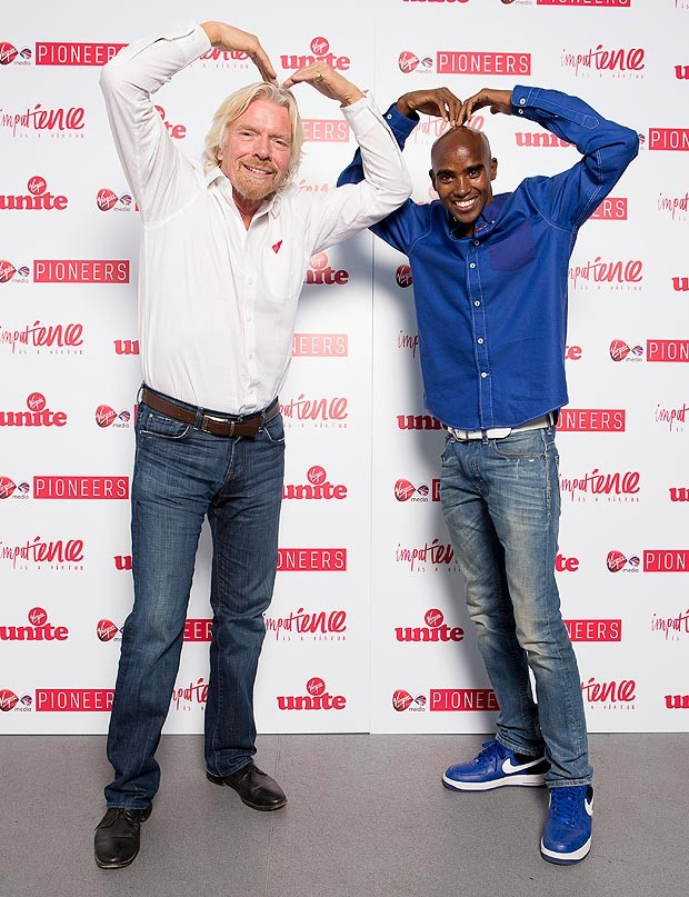 Richard Branson and Mo Farah
