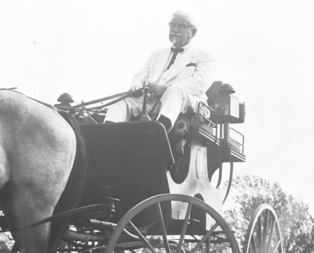 Colonel Sanders Riding on a Horse Buggy