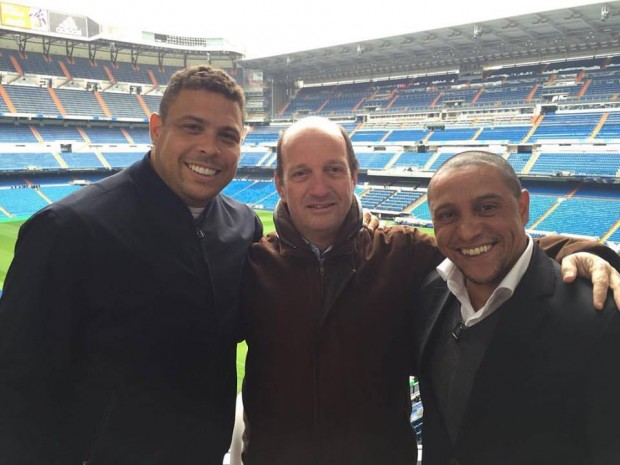 Roberto Carlos with Ronaldo at a football stadium