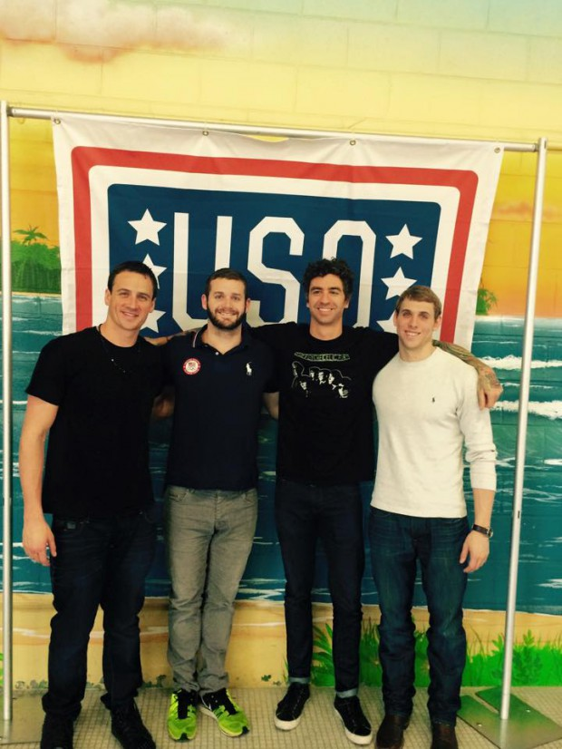 Ryan Lochte and fellow teammates at USO event