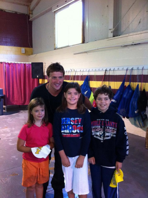 Ryan with kids at Eastern states swim clinic