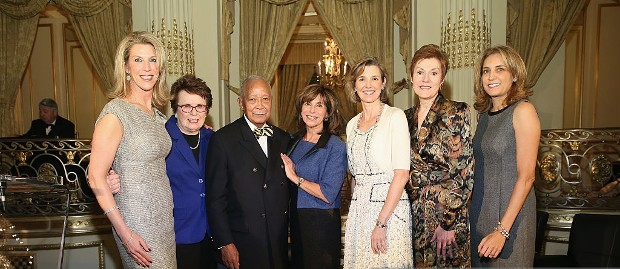 Ami Kaplan, Billie Jean King, David Dinkins, Rikki Klieman, Sallie Krawcheck, Beverly Beaudoin and Karen Finerman appear on stage at The 4th Annual Elly Awards Luncheon