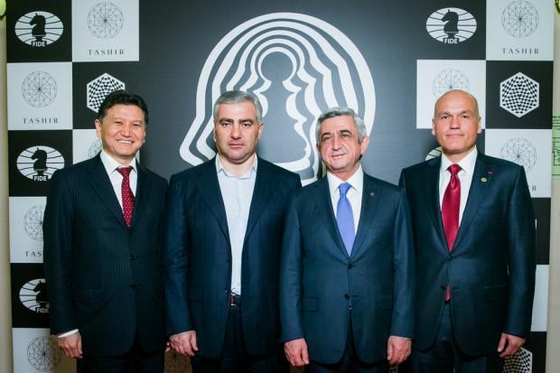 Samvel Karapetyan with Kiran Ilumzhinov, Serzh Sargsyan and Andrey Filato