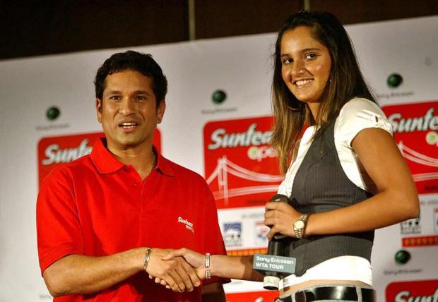 Sania Mirza with Indian Cricket legend Sachin Tendulkar