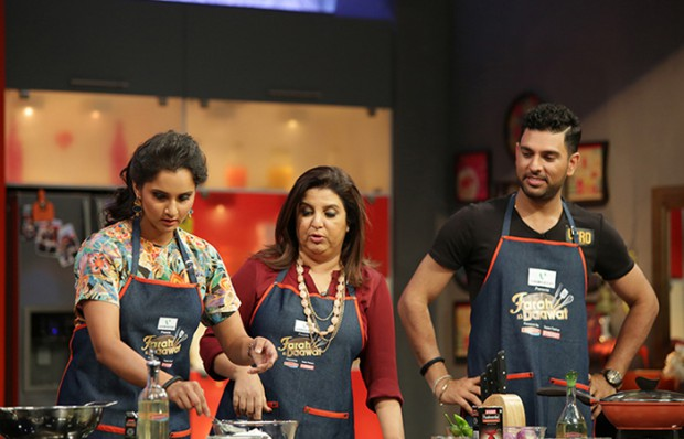 Sania in a cookery show of Farah Khan along with Indian Stylish Batsman Yuvraj Singh