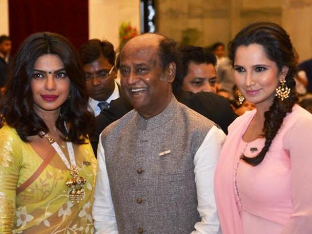 Sania Mirza with Priyanka Chopra and Superstar Rajnikanth