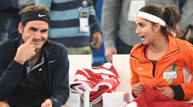 Sania Mirza with Roger Federer