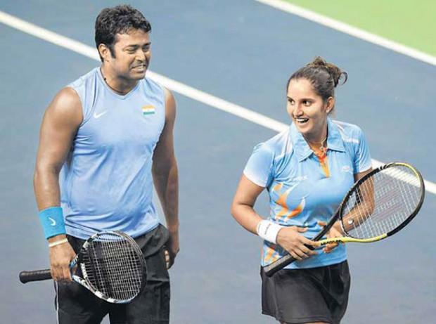 Sania Mirza and Leander Paes during a match