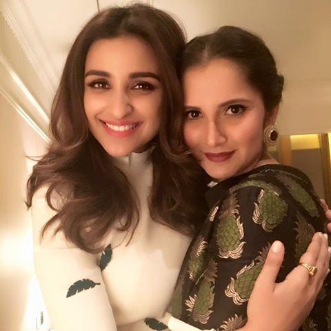Sania Mirza with India actress Parineeti Chopra