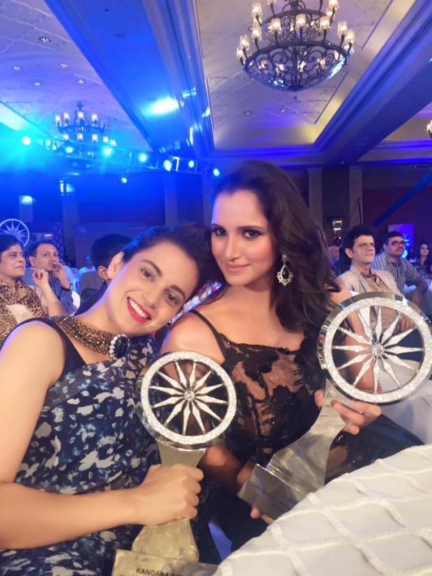 Sania and actress Kangana Rannaut at CNN-IBN awards