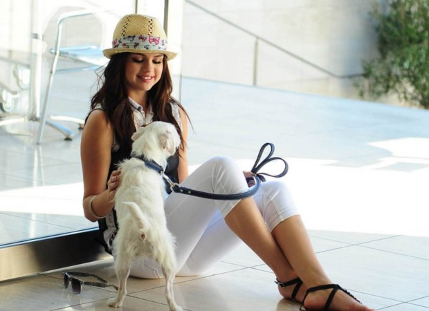 Selena with her pet dog