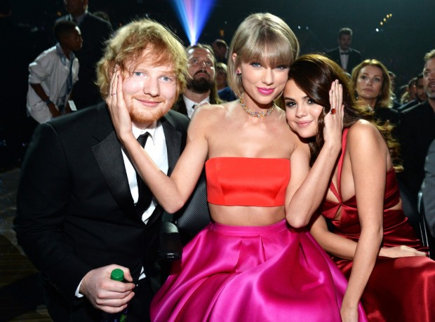Selena with Taylor Swift and Ed Shareen