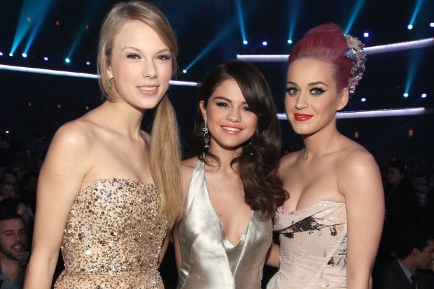 Selena Gomez with Taylor Swift and Katy Perry