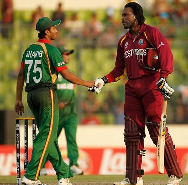 Shakib Al Hasan With Chris Gayle