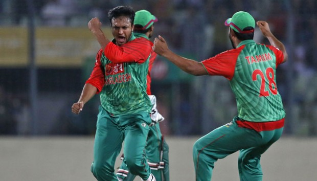 Shakib Al Hasan Celebrating After Taking the Wicket