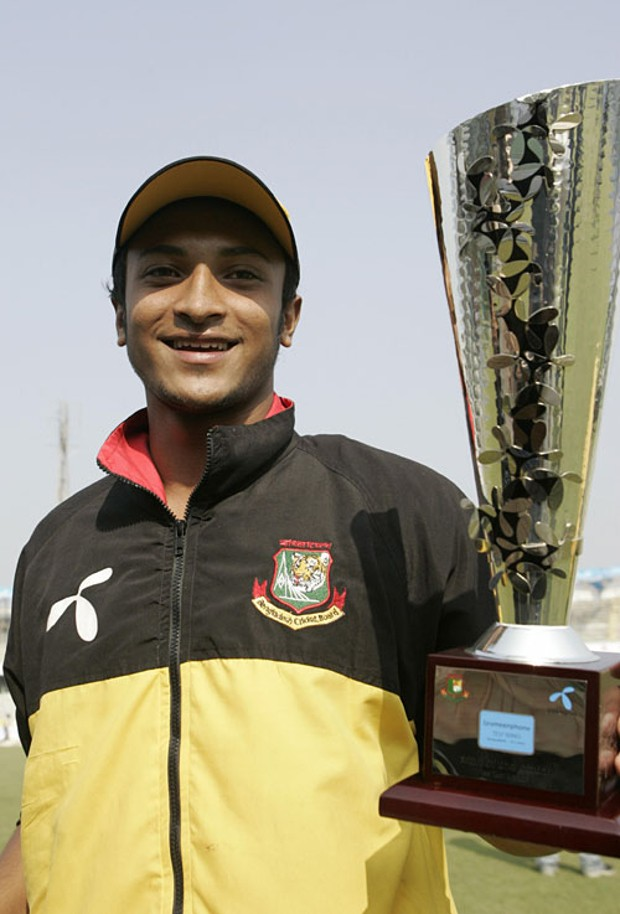 Shakib Al Hasan holds the Man-of-the-Match award