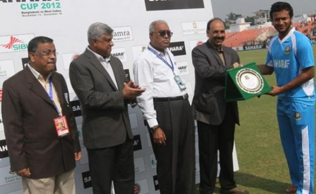 Shakib Al Hasan was awarded a crest for bagging 100 Test wickets for Bangladesh
